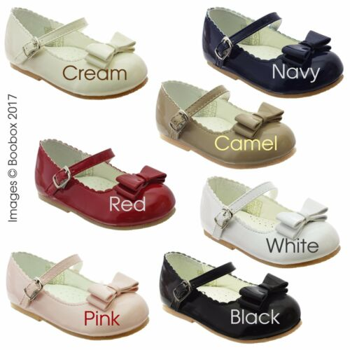 EU23 -6 EU18 Baby Girls/& Girls Patent Mary Jane Flat Bow Front Shoes UK Size 2