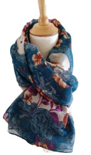 VINTAGE Cameo Rose Stampa Pashmina Sciarpa Wrap Deep Color Foglia Di Tè Blu Marrone chiaro bianco viola