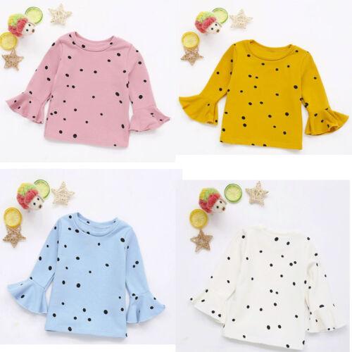 1pc Toddler Baby Girls Soft Long Sleeve Dot Soft Toddler Kids Tops Shirt Clothes