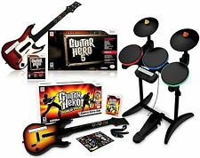 Wii/Wii-U Guitar Hero 5 & World Tour 2 Games/2 Guitars Drums Bundle Set nintendo
