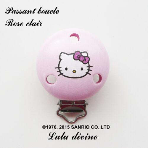 passant boucle attache tétine Hello kitty : Rose clair Pince // Clip en bois