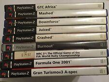 9 PLAYSTATION 2 PS2 RACE GAMES BUNDLE MASHED CRASHED JUICED BURNOUT DOWNFORCE F1