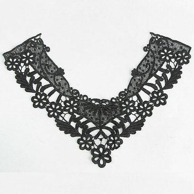 Flower Venise Applique Dress Neckline Lace Collar Trims Black Off White Trimming
