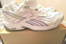 REEBOK DMX MAX Womens White Leather Blue Trim Walking Tennis Shoes 9M