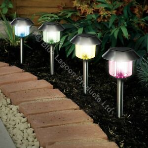4 x colour changing solar power light led post outdoor lighting image is loading 4 x colour changing solar power light led aloadofball Images