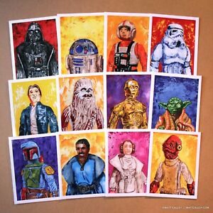 Star Wars Blank Inside Holiday Greeting Cards LOT OF 12 - Vintage Kenner Figures