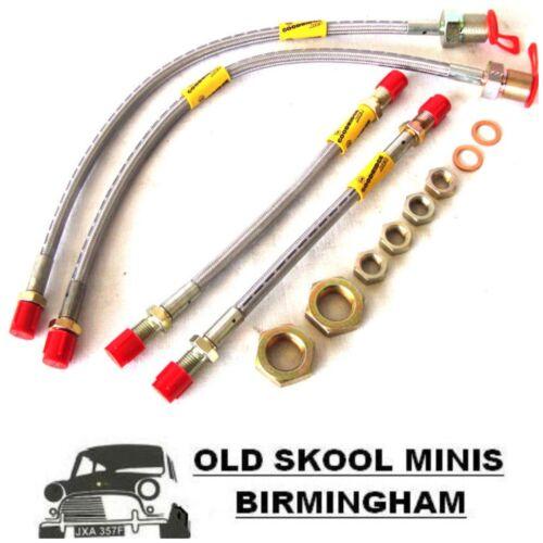 CLASSIC MINI GOODRIDGE BRAIDED 4-LINE BRAKE HOSE KIT FRONT DRUM /& REAR DRUM 4C6