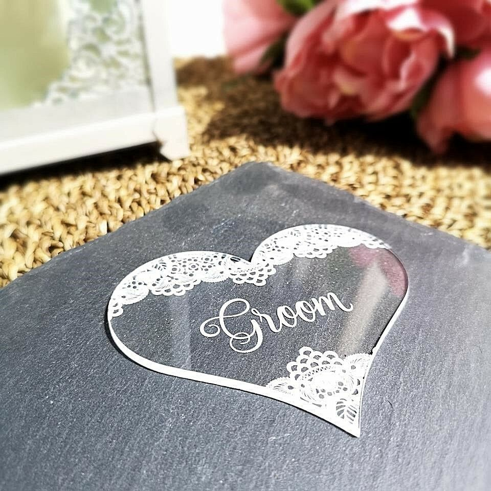 Personalised Heart Table Place Names - Traditional Lace - Clear