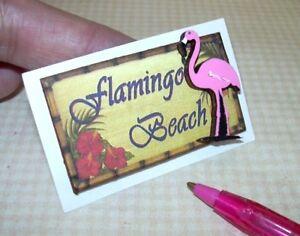 Miniature-3-D-Beach-Picture-Sign-034-Flamingo-Beach-034-2-DOLLHOUSE-1-12