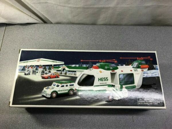 2001 Hess Helocopter with Motorcycle And Cruiser NIB Mint!