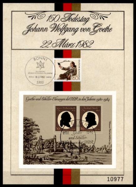 150. Mort De Johann Wolfgang Von Goethe. Rappel Feuille. Rfa-rda 1982-tt. Brd-ddr 1982 Les Clients D'Abord