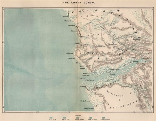 Congo Basin 1885 old antique vintage map plan chart The Lower Congo