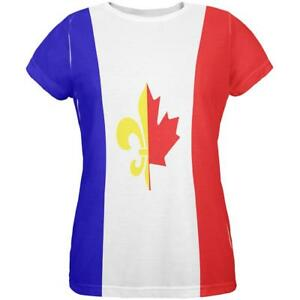 French Womens Shirt T Canadian All Flag Over IqxrfIWzwg