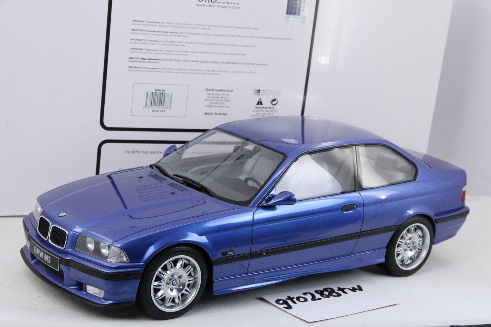 Otto escala 1:12 BMW E36 M3 Coupe 2018 (Estoril Azul)  Edición Limitadajubilado  Ottomobile G016