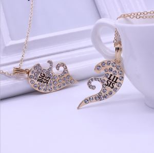 2pcs crystal heart gold silver big lil sis best little sister image is loading 2pcs crystal heart gold silver big lil sis aloadofball Image collections