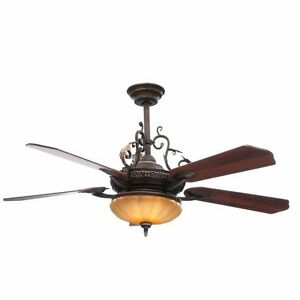 Hampton Bay Bedroom 52 Walnut Ceiling Fan With Light Kit And Remote EBay