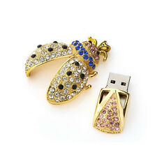 Gold 8GB USB 2.0 Flash Drive Crystal Keychain Heart Thumb Memory Stick Pen Drive