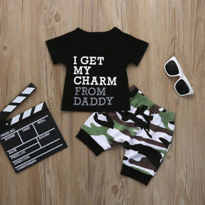 7cd8cdefe Toddler Kids Baby Boys Letter T Shirt Tops+Camouflage Shorts Outfits ...