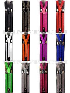 DARK/_BROWN BROWN Mens Leather Suspenders Y-Back Retro Braces Clip-On BLACK