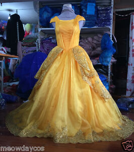 Image is loading NEW-Belle-Costume-Adult-Girl-Beauty-and-the- & NEW Belle Costume Adult Girl Beauty and the Beast Princess Dress ...