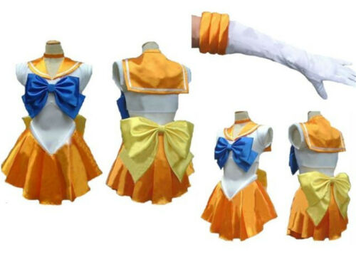 Anime Sailor Moon Cosplay Costume Uniform Fancy Party Girls Dress with Gloves