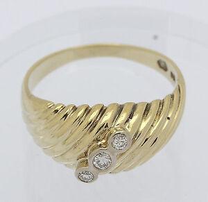 ♦ Ring in aus 14 kt 585er Gelb Gold mit Brillanten Brillant Diamant Brillantring