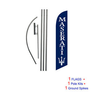 Custom Maserati (blue) 15' Feather Banner Swooper Flag Kit with pole+spike
