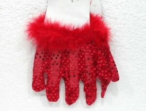 Carnevale/halloween-accessori-guanti Rossi In Paillettes