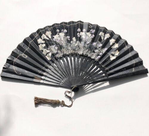Antique hand painted floral fan with tassel