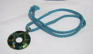 Wonderful-material-blue-string-necklace-pretty-blue-gold-tone-metal-pendants