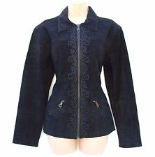 Black 100% Real Leather Suede INDISKA Fitted Ladies Women's Jacket Coat Sz S / M