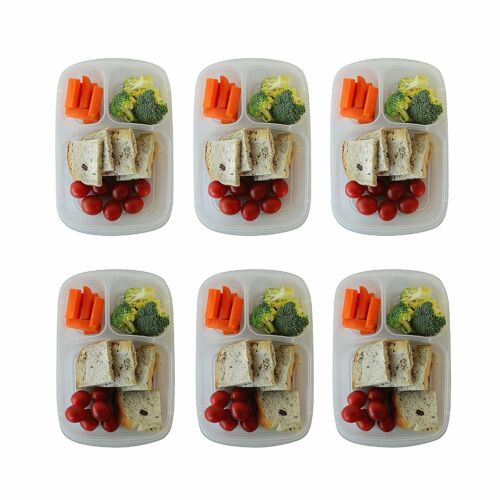 6 Pack Bento Lunch Box Meal Prep Plastic Food Storage Containers Kids Adulds