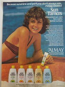 1978-Almay-Sol-Tamer-Bronceado-Locion-Senora-Playa-Toalla-Oceano-Anuncio