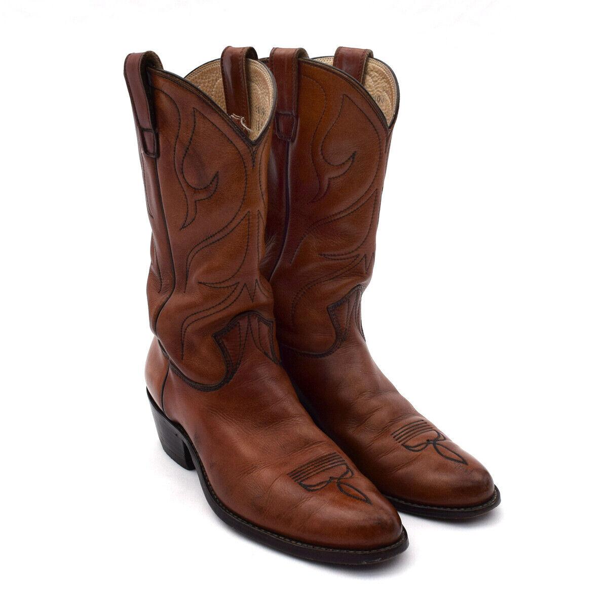 STEWART 1977 hecho a mano para hombre botas de vaquero occidental Marrón Medio 11C