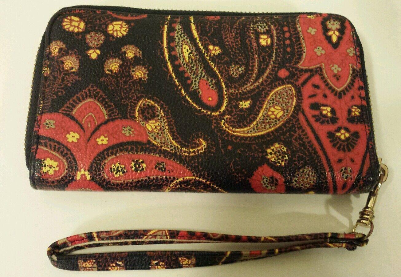Paisley Black/ Red Zip Around Wallet/Wristlet