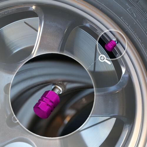 4 Pcs Purple Aluminum Tires Stem Caps 17mm Hexagon Style Wheel Air Valve Cover