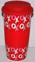 Hugs & Kisses Travel Mug Tumbler Ceramic W/ Rubber Lid & Grip X's & O's Red Love