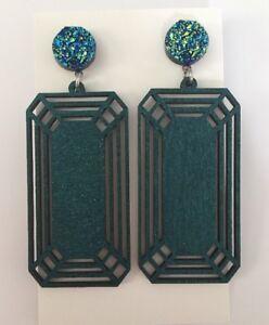 Statement-Geometric-Dangle-Earrings-Light-Wood-Surgical-Stud-Glitter-Druzy