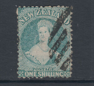 New-Zealand-Sc-37b-SG-124-used-1864-72-1sh-blue-green-QV-changed-color-Cert