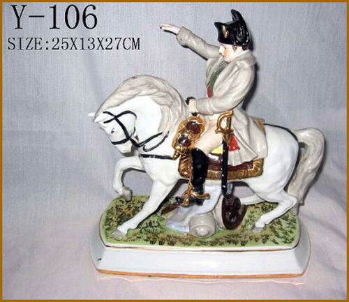 Porzellan Figur Militaria Kaiser Napoleon Pferd Y106
