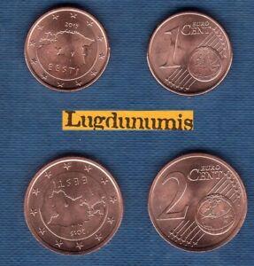 Estonie 2015 Lot de 2 pièces 1 centime et 2 centimes SPL de rouleau