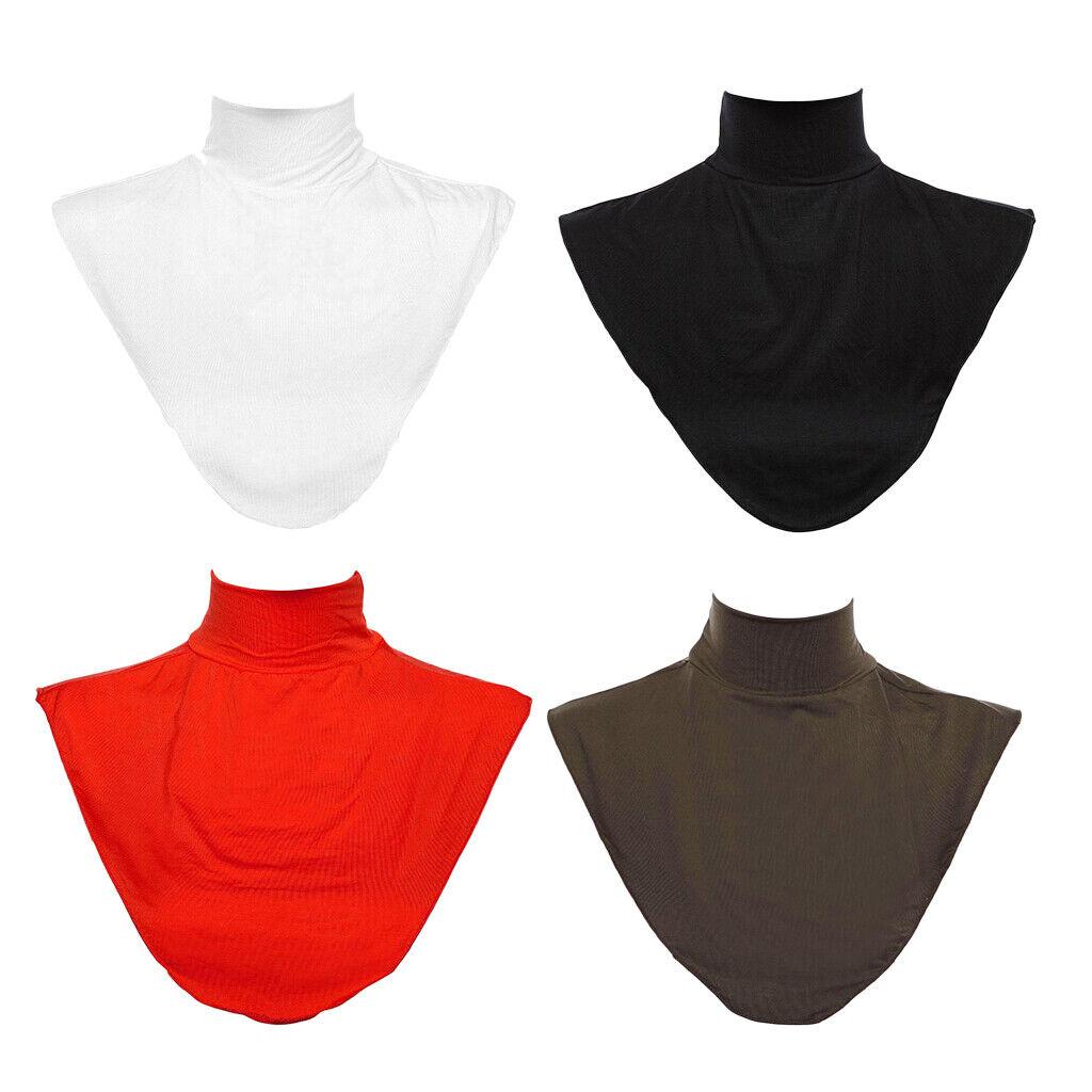 4x Islamic Fake Collar Modal Turtleneck Top Half Blouse Simple Dickey Collar