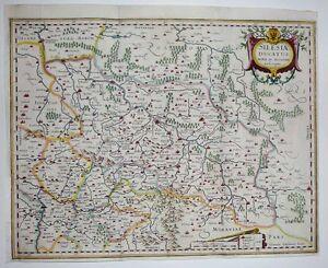 1633-Jansson-Ortelius-Map-POLAND-Silesia-Wroclaw-Krakow-Oder-DECORATIVE-Scarce