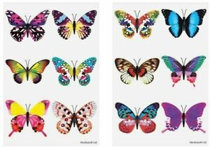 12 Butterfly Tattoos Transfers Birthday Party Loot Bag Toy Fillers For Kids