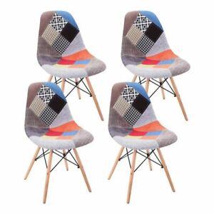 2 Esszimmerstühle Küchenstühle mit Holzbeinen Nordic Stuhle Patchwork Büro Stuhl
