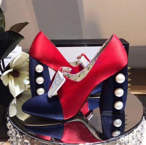 Runway Donna Block High Heel Shoes Pearl Bowtie Rivet Spike Pumps Pointy Toe Sz