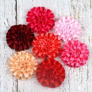 5-100Pc-2-034-Satin-Ribbon-Carnation-Flower-DIY-Craft-Wedding-Decorations-Appliques