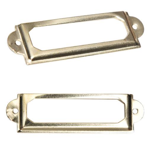 10pcs Drawer Label Pull Holder Frame Cabinet Antique Brass Name File 60*17mm✔UV