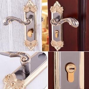 Continental-Antique-Mechanical-Locks-Interior-Door-Bronze-Handle-Lock-Set-Gold