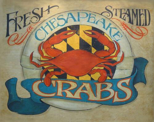 Chesapeake Bay Crab  Print art decor Maryland  vintage style  chesapeake bay